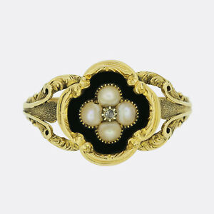 Antique Diamond Ring - Victorian Pearl, Diamond and Enamel Mourning Locket Ring