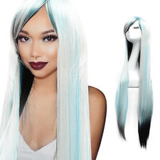 100cm Wig Long Straight Women's Hair Cosplay Costume Hairpieces Black-blue-gray