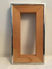 Midcentury Modern Brushed Chrome/Steel Picture Frame Wood Insert