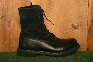 TIMBERLAND 'Teddy' Black Leather & Suede Fleece Lined Fold-Down Boots Sz. 7M