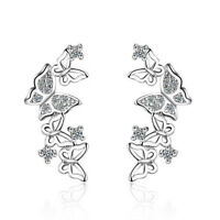 Fashion Sterling 925 Silver Plated Jewelry Crystal Butterfly Stud Earrings