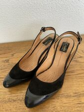 Clarks Ladies Artisan Black Suede and Skin Sling Back 8cm High Heel Shoes Size 9