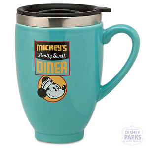 Authentic Disney Parks Mickey's Really Swell Diner Travel Large Coffee Mug -Teal