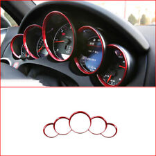 5Pc Chrome Red Dashboard Meter Ring Covers Trim For Porsche Cayenne 958 11-18