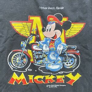 Vintage Dayton Beach Mickey Mouse Motorcycle Youth 10-12 Black T-Shirt