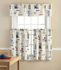 Nautical Lighthouse 3 Piece Valance & Tiers Cafe Curtain Set Sailboat Blue Red