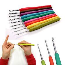 9 Sizes Soft Plastic Handle Aluminum Crochet Hooks Knitting Needles Set 2-6mm UK