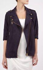 Acne Studios Women's Brown Mocha Suede Smith Moto Jacket UK 10 EU 38 3/4 Sleeve
