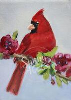 ACEO print my painting wildlife art cardnial bird flowers animal ATC wren chick