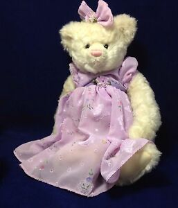 """Gund Bear LILAC 15079 White Girl Bear with Lilac Dress and Bow ~ 16"""" Bow to Feet"""
