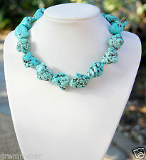 Turquoise Howlite Large Blue freeform nuggets bold chunky statement necklace new