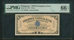 1917 Philippines / WWI Emergency Issue  pick# 42  1 Peso   PMG 66 EPQ  Top Pop