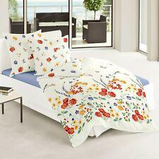 Bierbaum Seersucker Bettwäsche 6571-01 Blumen Schmetterlinge Orange Lila 155x220