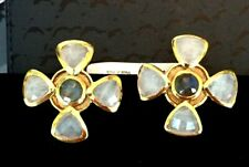 Julie Vos 24K Gold Pl Clip Earring  Smoky Quartz Pinwheel w Labradorite NWT $100