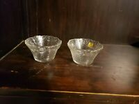 "VTG Parka Clear Glass Swirl Bowls Scalloped Floral Rim Lot of 2 - 4"" D & 2.25"" H"
