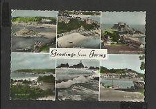 Vintage  Multi View Colour Postcard Greetings Jersey Channel Island Posted 1961