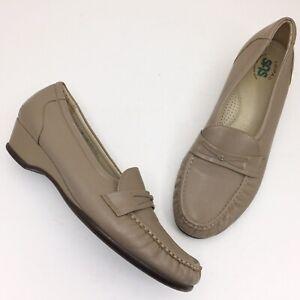 SAS Easier Mocha Beige Leather Slip On Loafers -  Size 11N