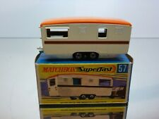 MATCHBOX SUPERFAST 57 TRAILER CARAVAN - CREAM + ORANGE - EXCELLENT IN BOX