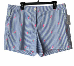 "Crown & Ivy Womens Caroline Blue White Stripe Flamingo Shorts 5"" Inseam Sz 14"