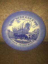 Vintage Nebraska State Souvenir Plate Blue & White 8.25 Inches Across Used