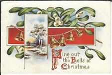 BA-062 Ring Out the Bells of Christmas, 1907-1915 Golden Age Postcard Embossed