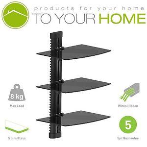 Black Floating Triple Three Glass Shelves Wall Mount Bracket Stand DVD Sky