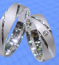 2 Ringe Trauringe , Eheringe DR. mit echtem  DIAMANT , Silber 925 , J64-1