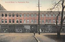 Concord Block, South Framingham, MA Stores c1910s Hand-Colored Vintage Postcard