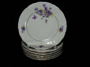 """6 Royal Castle Germany Violet of the Alps 7 5/8"""" Salad Plates"""