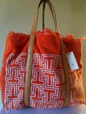 Tory Burch Towel- T Tote Bag Purse Style #43687 Orange Large