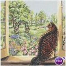 View of the Garden Cat Counted Cross Stitch Kit