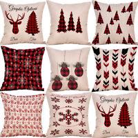Christmas Xmas Festive Cotton Linen Cushion Cover Throw Pillow Case Home Decor