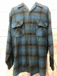 Vintage 1960s Pendleton Beach Boys Board Shirt Rare Color Blue Green Wool XL