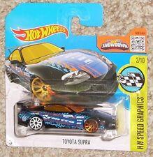 2016 Hot Wheels Car 177 Toyota Supra Black MOC Short Card Toy VHTF