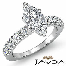 Glistening Marquise Cut Diamond Engagement Ring GIA G VS2 14k White Gold 1.75 ct