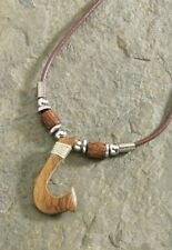 Hawaiian Hawaii Jewelry Wooden Hook Brown Cord Necklace / Choker # 9875138000