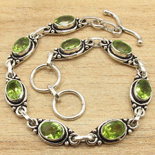 "8"" Genuine Fire PERIDOT Fine Quality Jewelry Fashion Bracelet 925 Silver Plated"