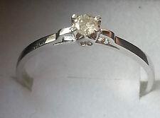 STUNNING SOLID 14K WHITE GOLD GENUINE 0.16CTW DIAMOND SOLITAIRE RING 7 - U$1090
