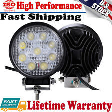 2PCS 27W Round Spot Work Light Bar Fog Driving Lamp Truck Tractor SUV 9 LED 12V