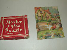 Vintage Master Jig Saw Puzzle on Three Ply Wood with Original Box