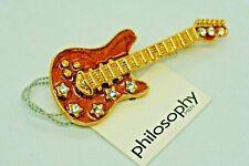 Collectible Fashion Pin - Brown Metal Guitar Pin Philosophy Men - Vintage 2000's
