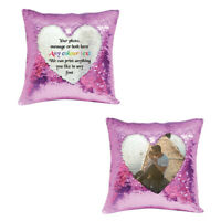 Personalised pink sequin cushion cover with any photo / gift message - su426