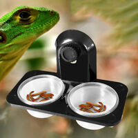 EE_ AM_ Double Grid Reptiles Food Water Feeding Bowl Insects Spider Tank Pots Gr