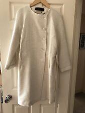 Zara Women Textured Coat With Tie Belt, Size L, Sand, Bnwot