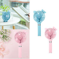 Blue+Pink Mini Portable Handheld USB Rechargeable Cooling Fan for Travel