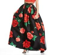 B Darlin Size 3/4 Black Red High Waisted Floral Satin Ballgown Skirt