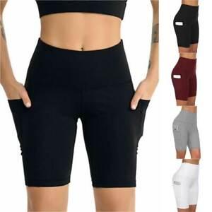 Women's High Waist Yoga Shorts Capri Pants Gym Active Running Fitness Leggings