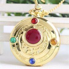 Sailor Moon Vintage Golden Moon Prism Pendant Pocket Watch Necklace Chain Anime