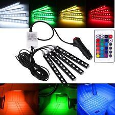 4pcs 9 LED RGB Car Charge Interior Floor Atmosphere Strip Light Remote Control