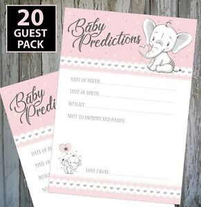 20 GUEST PACK!!  BABY GIRL SHOWER GAME - BABY PINK PREDICTION CARDS KEEPSAKE! #2